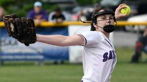 Sayville's Maddie Recker delivers against Ballston Spain the