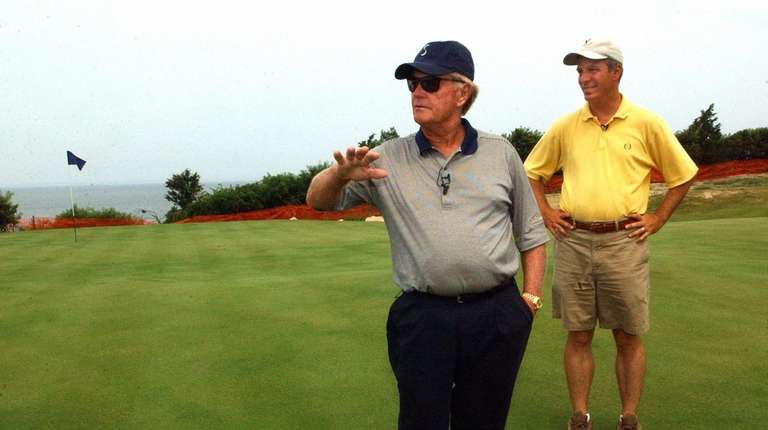 Jack Nicklaus walks the Sebonack golf course