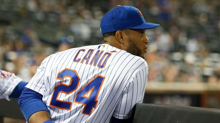 Robinson Cano of the Mets looks on during