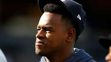 Luis Severino of the Yankees looks on after