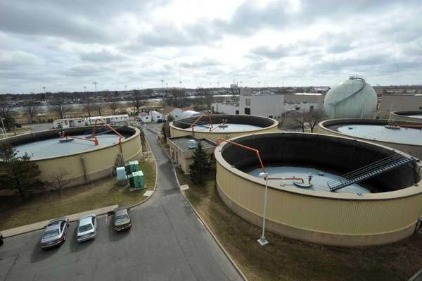 Digestor tanks at the Bay Park Sewage Treatment