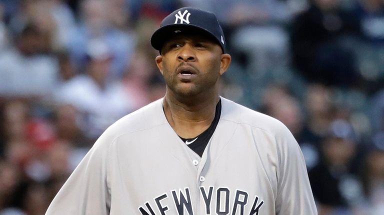 Yankees starting pitcher CC Sabathia looks to the