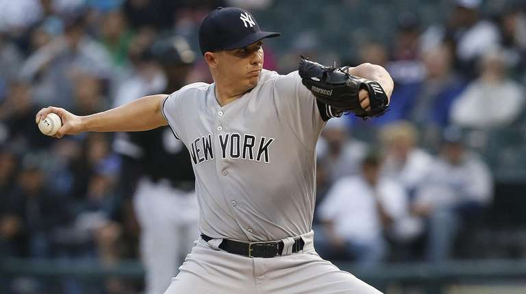 Chad Green of the Yankees pitches in the