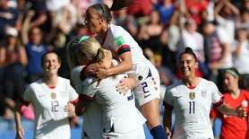 USA's Julie Ertz (2nd L) celebrates with the