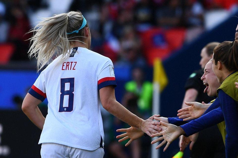 United States' midfielder Julie Ertz celebrates after scoring