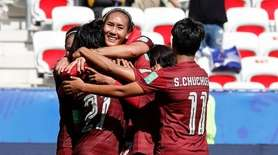 Kanjana Sung-Ngoen of Thailand celebrates after scoring a