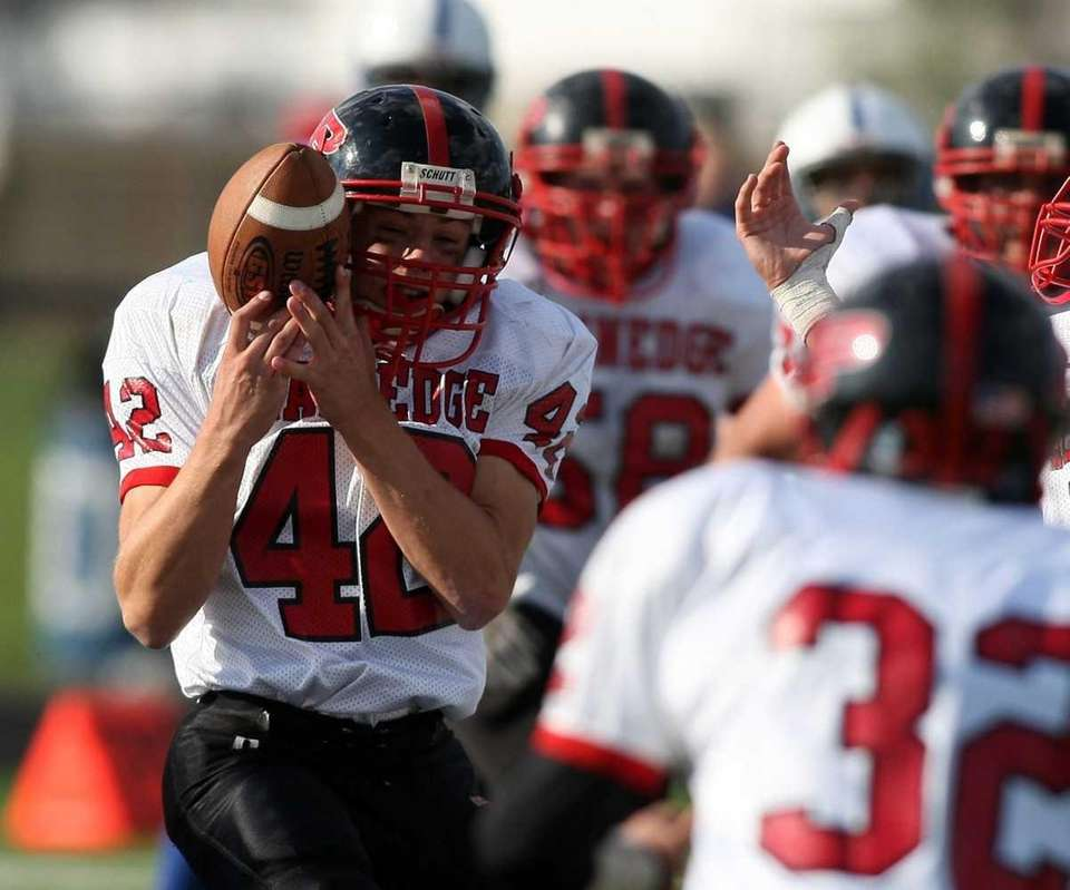Plainedge #42 Dan Spurgeon bobbles the ball and