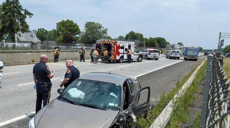 A crash closed Sunrise Highway in North Babylon