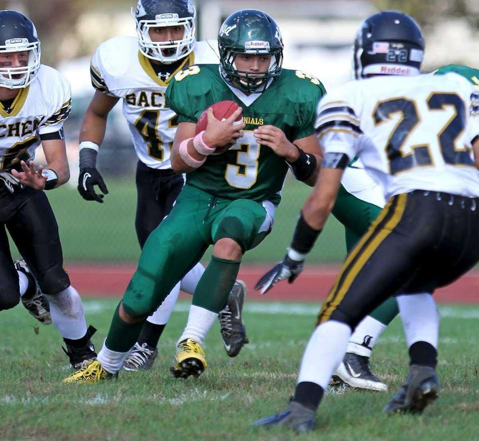William Floyd QB A.J. Otranto #3, is surrounded