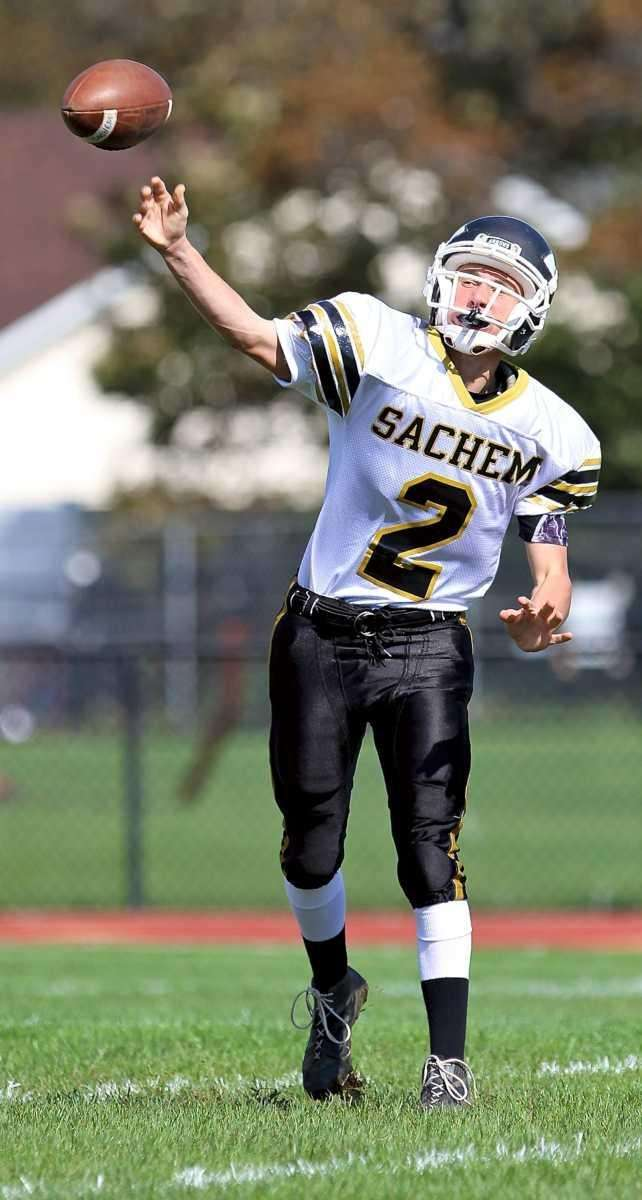 Sachem North QB Michael O'Donnel #2, gets the