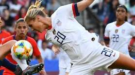 Chile defender Camila Saez vies with United States