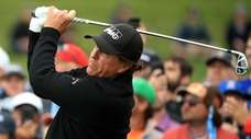 Phil Mickelson of the United States plays a
