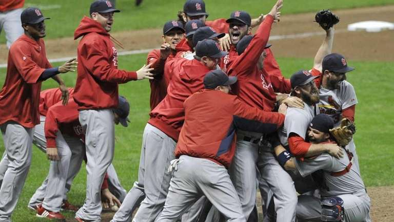 The St. Louis Cardinals celebrate after Game 6