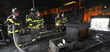 A two-alarm fire Sunday afternoon damaged St. Pius