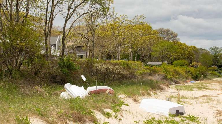 Havens Beach in Sag Harbor, with historic SANS