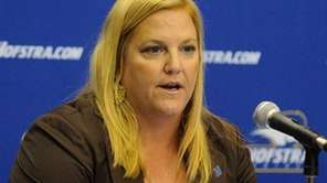 Hofstra women's basketball coach Krista Kilburn-Steveskey at media
