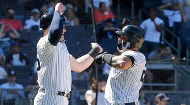 Yankees catcher Gary Sanchez celebrates his two-run home