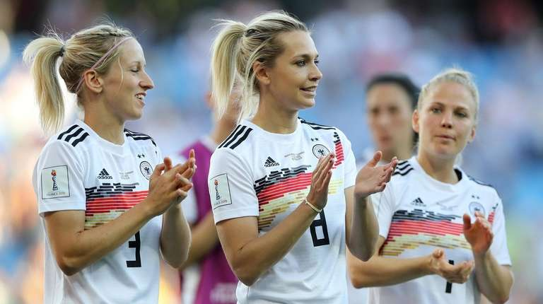 Germany's Lena Goessling applauds the fans after the