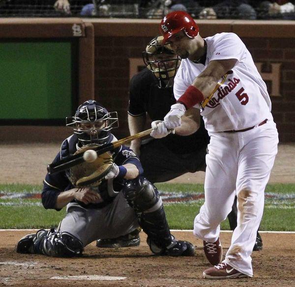 St. Louis Cardinals' Albert Pujols hits an RBI