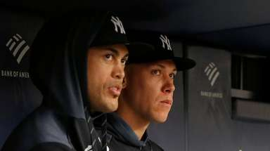 Giancarlo Stanton and Aaron Judge of the Yankees