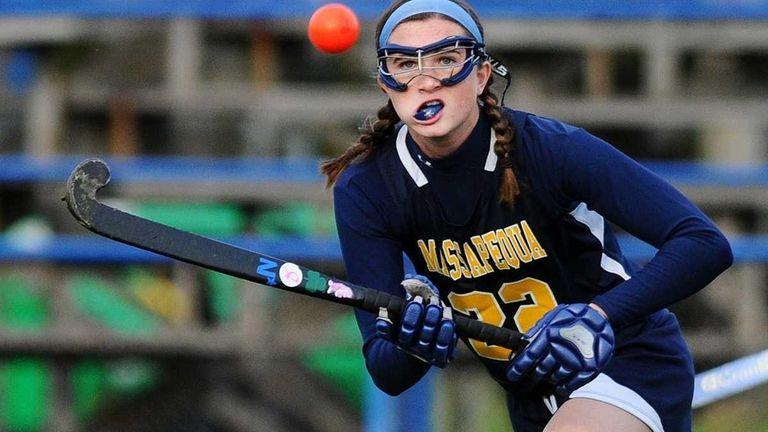 Massapequa High School forward #22 Kelsey O'Brien reacts