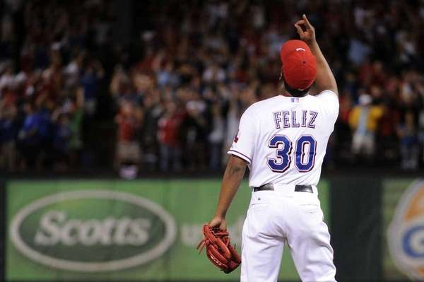 Neftali Feliz #30 of the Texas Rangers celebrates