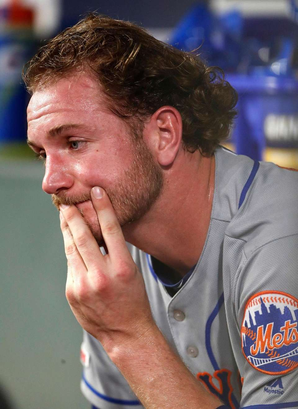 New York Mets relief pitcher Drew Gagnon sits