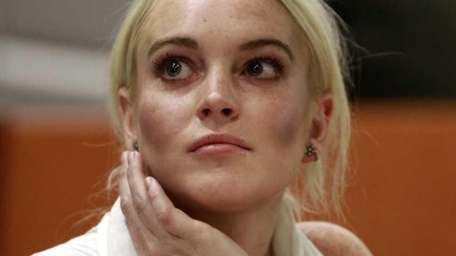 Lindsay Lohan is shown in court in Los