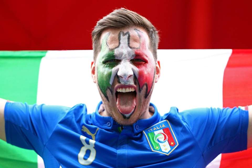A fan of Italy prior to the FIFA