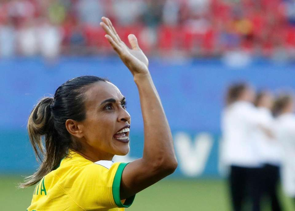 Brazil's Marta reacts before the Women's World Cup