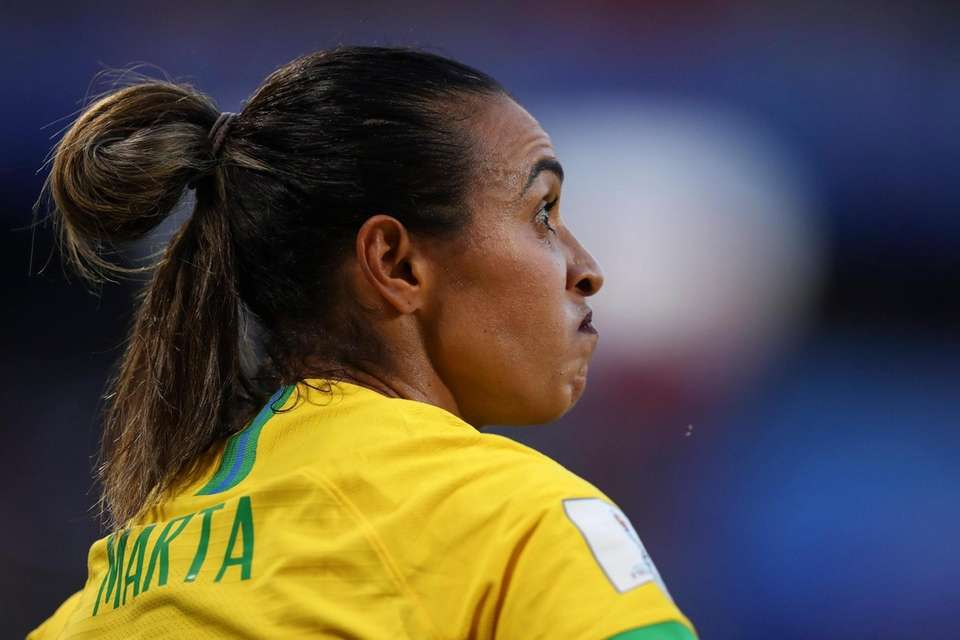 Brazil's Marta reacts during the Women's World Cup