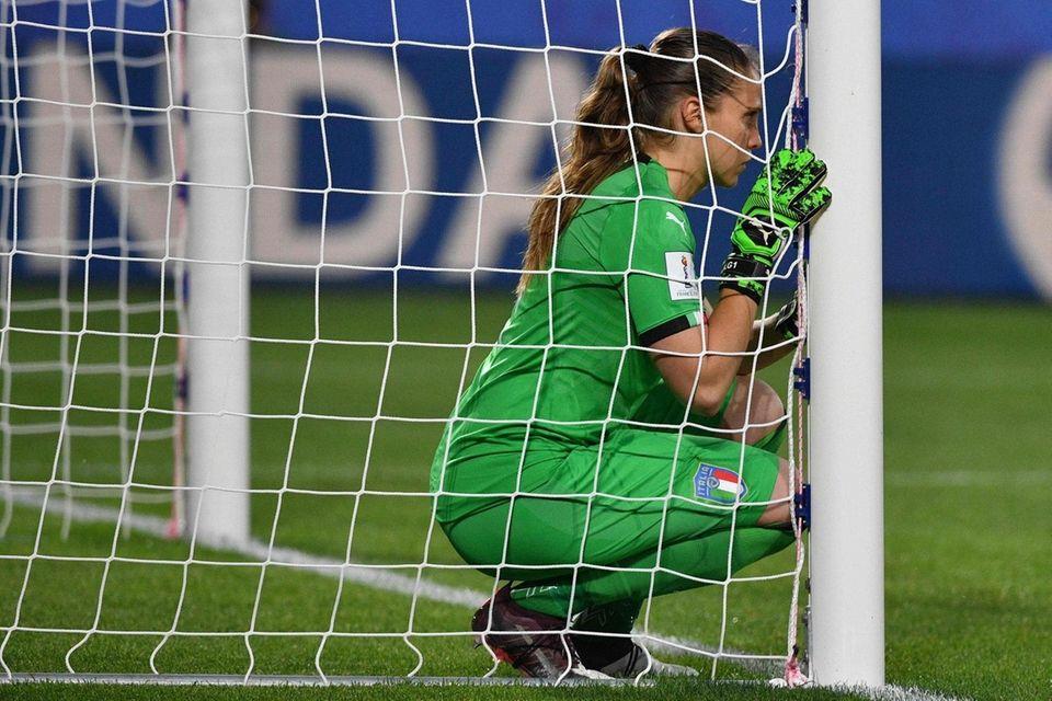 Italy's goalkeeper Laura Giuliani is seen in her