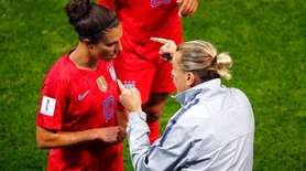 USA coach Jill Ellis gestures as she talks