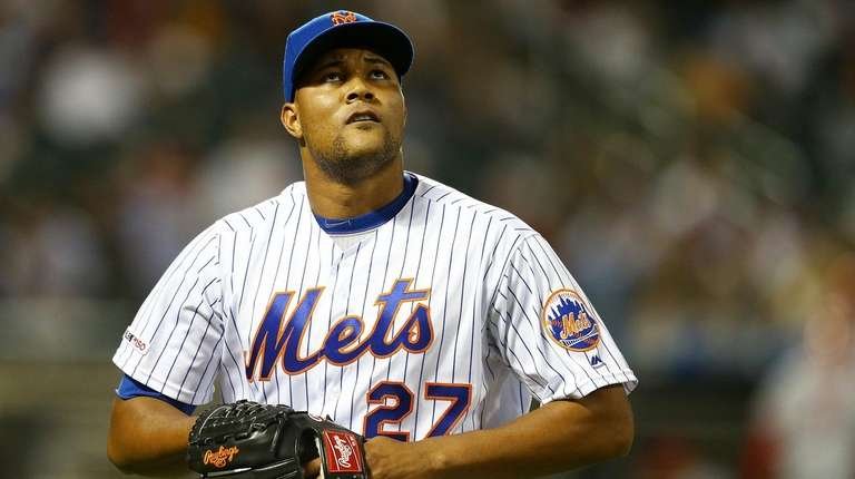 Jeurys Familia of the Mets reacts after giving
