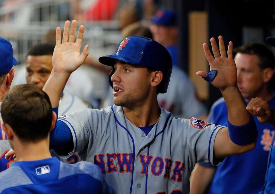 Michael Conforto of the New York Mets reacts
