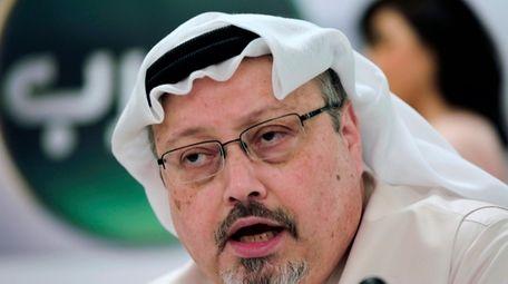 Saudi journalist Jamal Khashoggi at a news conference