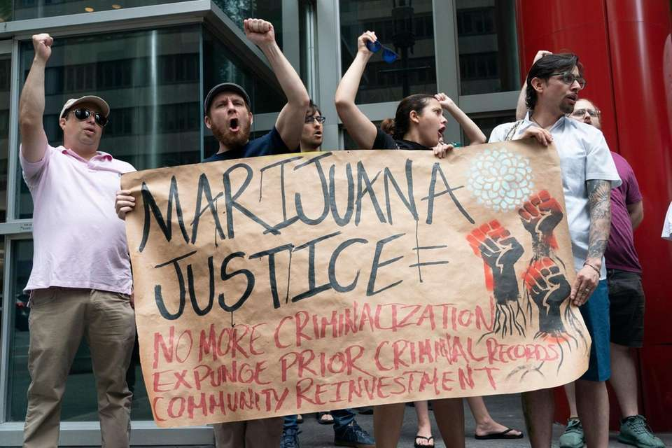 Marijuana legalization supporters rally outside of New York