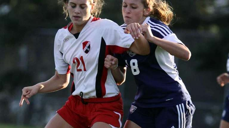 East Islip midfielder Cari Roccaro controls ball against