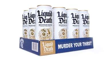 Despite their Goth looks, cans of Liquid Death