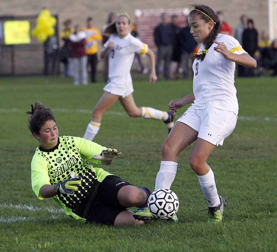 Islip keeper Kersey Reagan with the save on