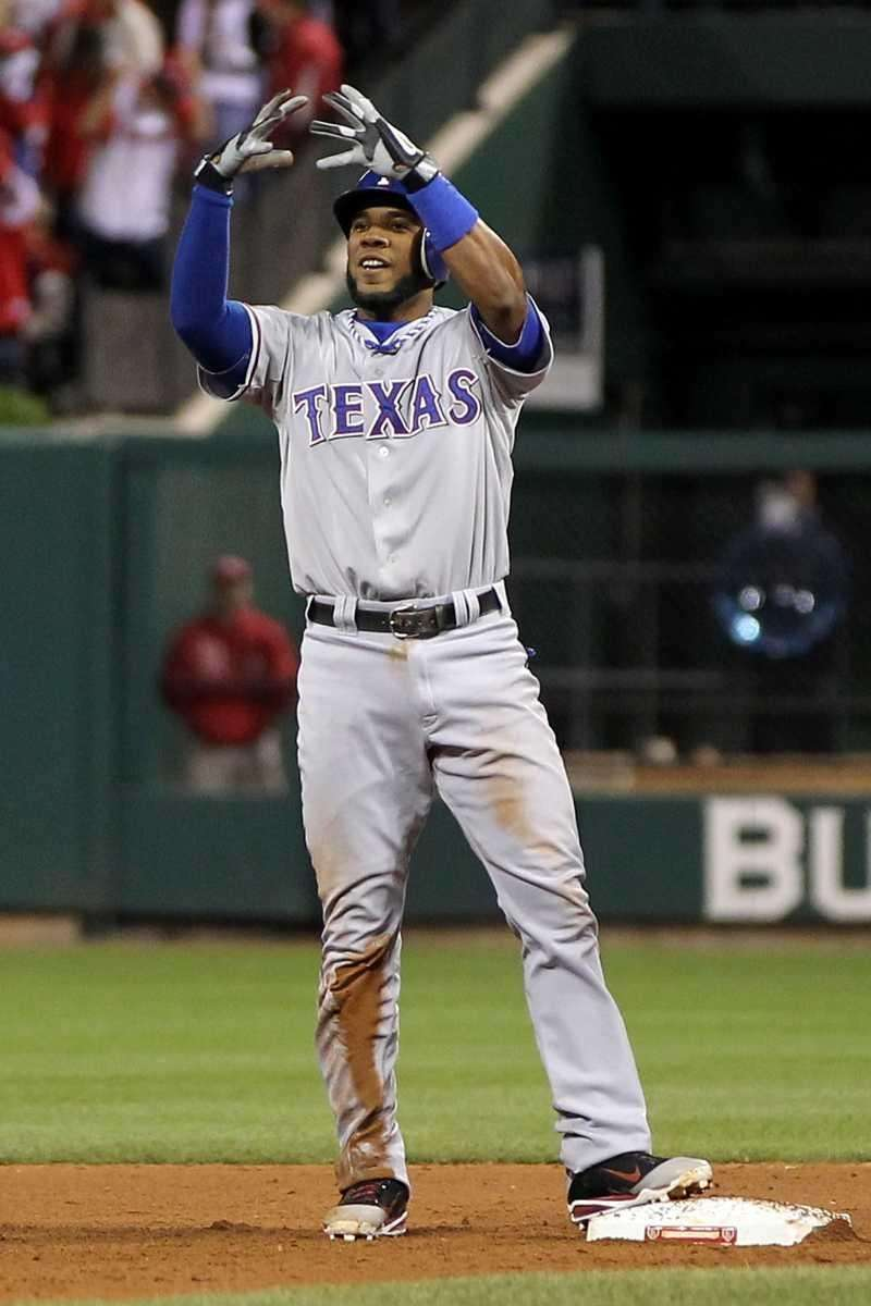 Elvis Andrus #1 of the Texas Rangers celebrates
