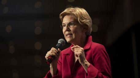 Sen. Elizabeth Warren, D-Mass., speaks during an Iowa