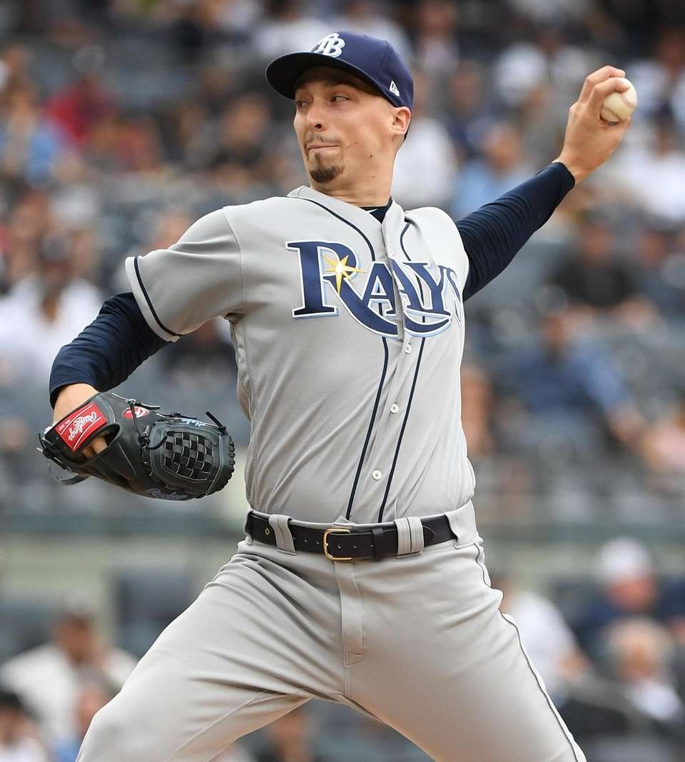 Tampa Bay Rays starting pitcher Blake Snell delivers
