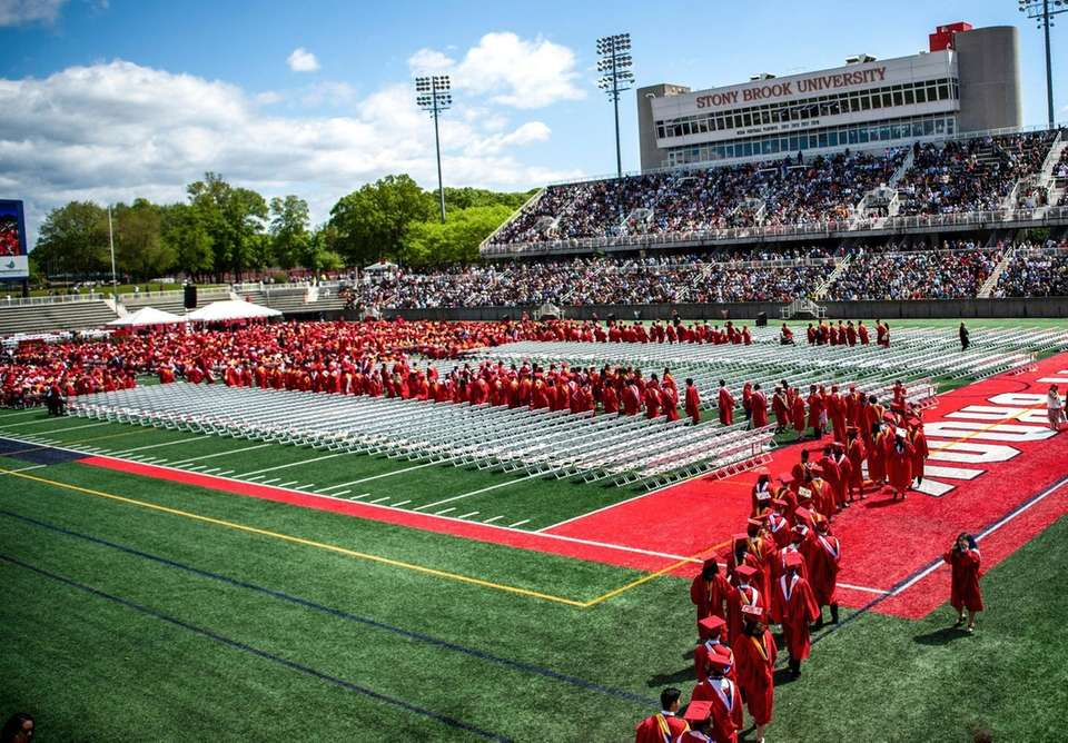 Graduating students at Stony Brook University file into