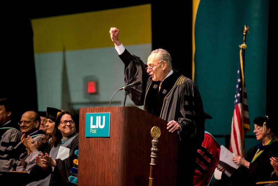 Senator Chuck Schumer (D-NY) addresses students and faculty
