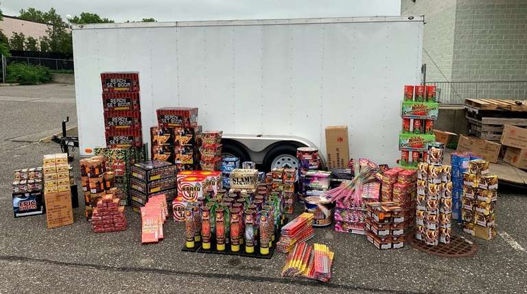 Fireworks were stored in this trailer outside a