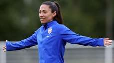 Christen Press during a USA training session for