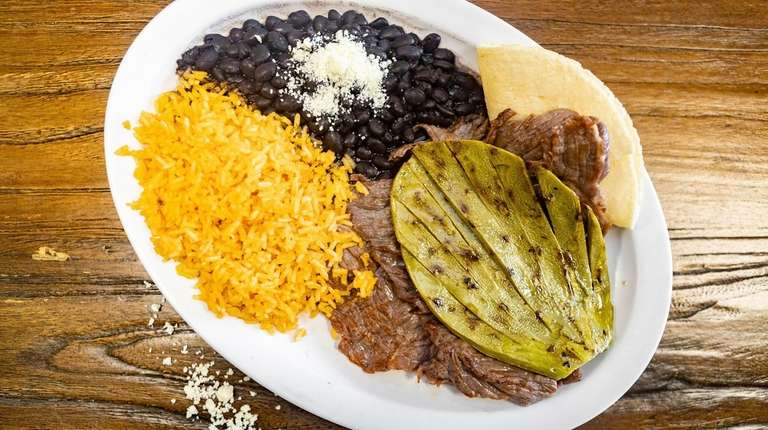 Nopal cactus, rice and beans accompany a fine