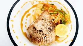 Meaty seared tuna benefits subtly from a light,