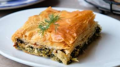 Spanakopita, spinach pie, was among the starters at